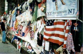 Memorial scene at the WTC area in lower Manhattan